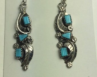 NativeAmerican handmade sterling silver and turquoise earrings