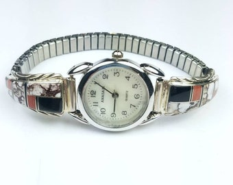 Native American Navajo handmade Sterling Silver inlay Coral Onyx Wild Horse Jasper stone watch