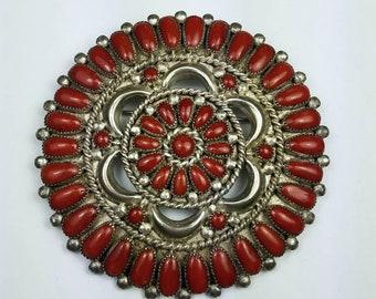 Native American Zuni handmade Sterling Silver Mediterranean Coral cluster stone pendant