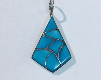 Native American handmade Zuni Turquoise Inlay and Sterling Silver pendant