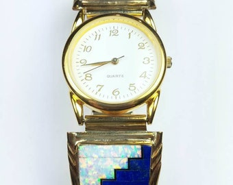 Native American Navajo handmade Sterling Silver 12k Gold fill inlay Lapis Onyx Opal stone watch