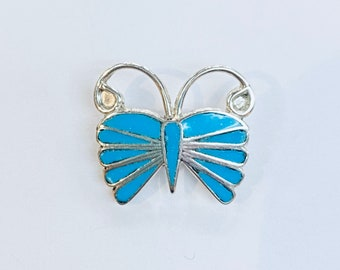Native American Zuni Inlay handmade sterling silver and turquoise butterfly pin/pendant