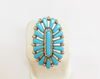 Native American Zuni Needle point han made sterling silver Turquoise ring