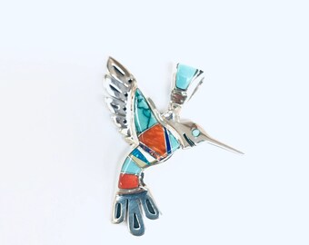 Native American Navajo handmade sterling silver multicolored humming bird