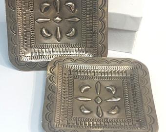 Native American Navajo handmade sterling silver dish trays