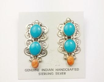 Native American Navajo Handmade Sterling Silver Multi Color Earrings