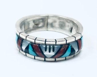 Native American Zuni handmade sterling silver multi colored men's/women's band