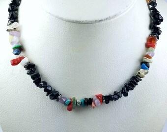 Native American Navajo handstrung multi stone nugget bead necklace
