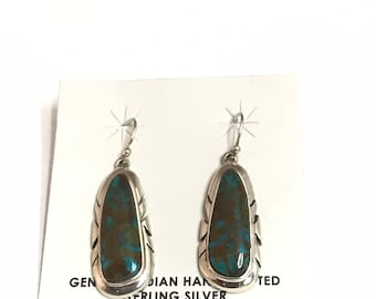 Native American Navajo Handmade Sterling Sterling Turquoise Dangle Earrings