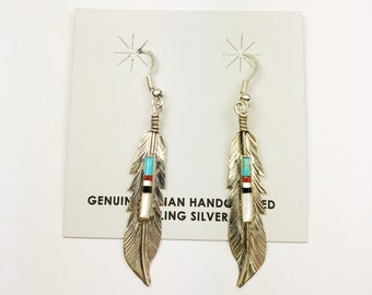 Native American Navajo Handmade Sterling Silver Muilticolor Feather Earrings