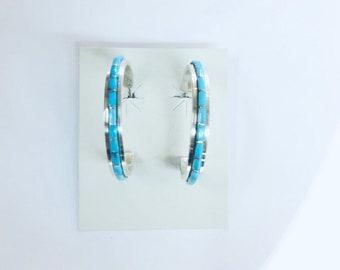 Native American Zuni handmade Sterling Silver inlay Turquoise half hoop stone stud earrings