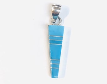 Native American Zuni handmade sterling silver and sleeping beauty turquoise inlay pendant