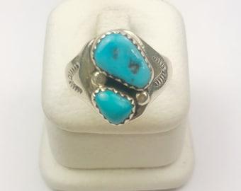Native American Navajo Handmade Sterling Silver Kingman Turquoise Ring