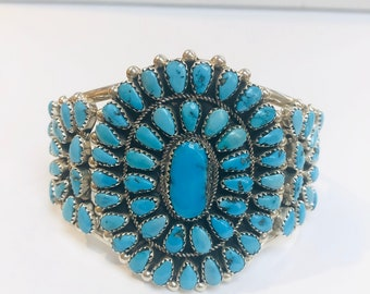 Native American Navajo handmade sterling silver turquoise cluster cuff bracelet