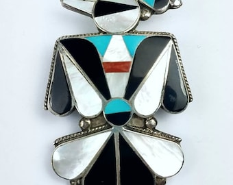 Vintage Native American Zuni handmade Sterling Silver multi-stone inlay thunder bird pendant