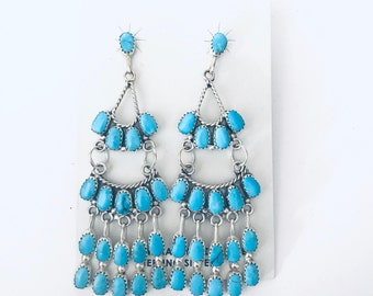 Native American Zuni handmade stunning sterling silver and sleeping beauty turquoise dangle earrings