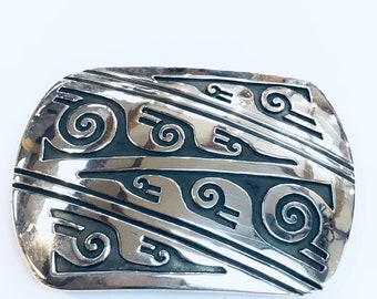 Native American Navajo handmade Sterling Silver belt buckle