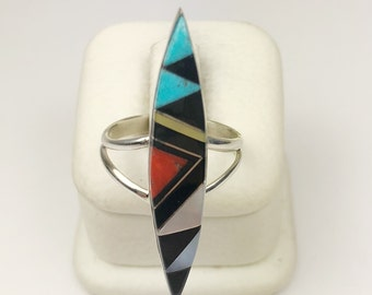 Native American Navajo Handmade Sterling Silver Coral, MOP, Onyx Inlay Ring