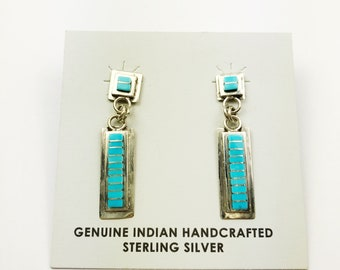 Native American Navajo Handmade Sterling Silver Sleeping Beauty Turquoise Earrings