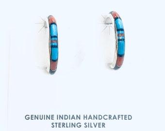 Native American Navajo handmade sterling silver multi colored half hoop earrings