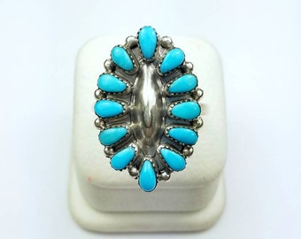 Native American Zuni handmade Sterling Silver Turquoise ring