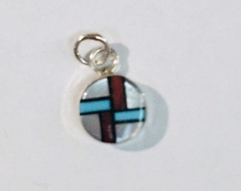 Native American Zuni handmade sterling silver pendant inlaid withTurquoise Coral Black Onyx and white Mother of Pearl shell