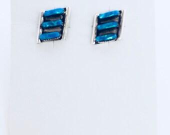 Native American Zuni handmade sterling silver and lab created opal earrings
