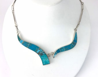 Contemporary Native American Navajo handmade Turquoise and Sterling Silver necklace
