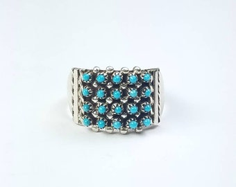 Native American Zuni handmade Sterling Silver petit point Turquoise ring