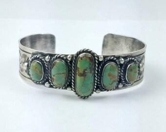 Native American Navajo handmade Sterling Silver Turquoise cuff bracelet