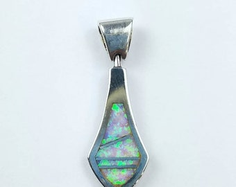 Native American Navajo handmade Sterling Silver Opal inlay pendant