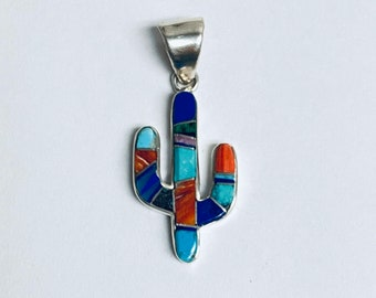 Native American and Navajo handmade sterling silver multi colored inlay cactus pendant