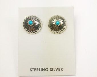 Native American Navajo Handmade Sterling Silver Sleeping Beauty Earrings