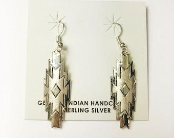 Native American Navajo Handmade Sterling Silver Earrings