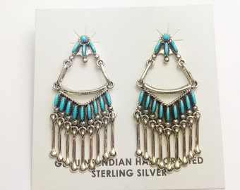 Native American Zuni handmade Sterling Silver Sleeping Beauty Turquoise Earrings