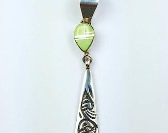 Native American Navajo handmade Sterling Silver Gaspeite inlay pendant