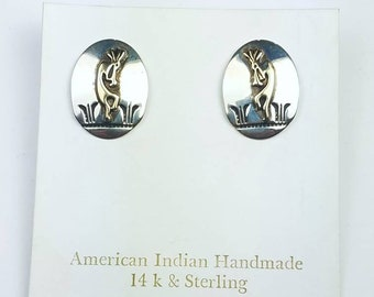 Native American Navajo handmade Sterling Silver 14k Gold overlay Kokopelli stud earrings