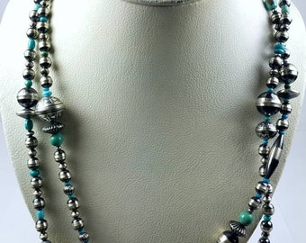 Native American Sterling Silver Navajo Pearl Turquoise stone graduated beaded necklace