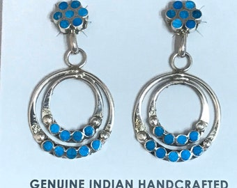 Native American Zuni Handmade Sterling Silver Turquoise Inlay Dangle Earrings