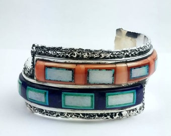 Native American Navajo handmade Sterling Silver multi-stone inlay cuff bracelet