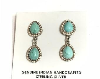 Native American Navajo Handmade Sterling Silver Turquoise Dangle Earrings