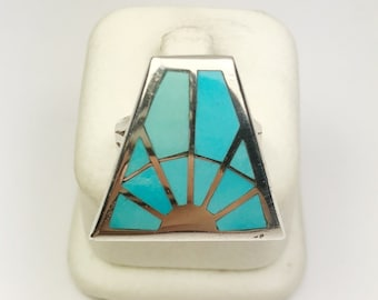 Native American Navajo Handmade Sterling Silver Castle Dome Turquoise Ring