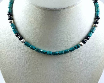 Native American Navajo handmade Sterling Silver Navajo Pearl Turquoise Onyx stone beaded necklace by Tommy and Rosita Singer