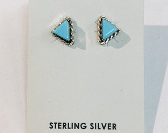 Native American Navajo handmade Sterlin silver and Turquoise stud earrings