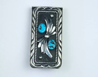 Native American Navajo handmade Sterling Silver Turquoise stone money clip