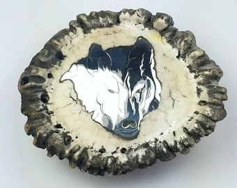 Sterling Silver inlay Antler Burr belt buckle