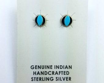 Native American Zuni handmade Sterling Silver Turquoise stone stud earrings