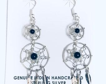 Native American Navajo Handmade Sterling Silver Onyx Dream Catcher Dangle Earrings