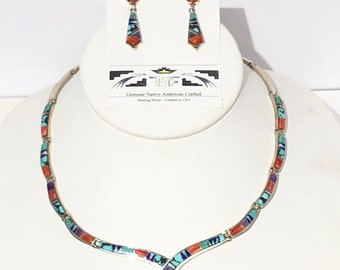Native American Navajo Handmade Sterling Silver Multi colored inlay set