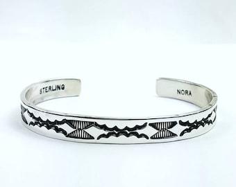 Native American Navajo handmade Sterling Silver cuff bracelet by Nora Bill